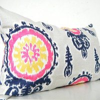 Pink Ikat Pillow Long Bolster Pillow Decorative Pillows Navy Blue Pillows Mustard Yellow Pillows Designer Ikat Pillow Covers