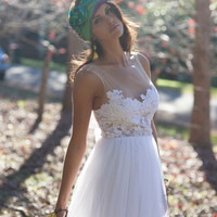 Stunning white lace and tulle wedding dress unique and beautiful