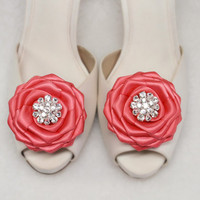 Sparkly Rhinestone Crystal Clear Wedding Shoe clips Coral Reef Color Satin Rose Shoe clips