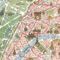 "Vintage Paris Tourist Map ""Paris Monumental et Metro"" Europe Antique Map - European Travel Tourism"