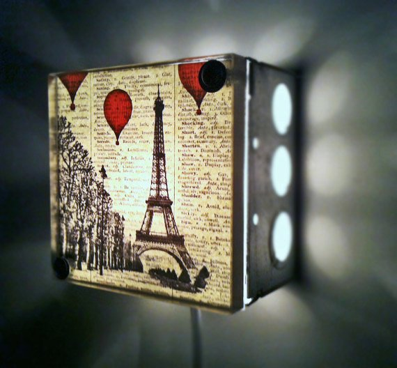 Hot Air Balloons Over Paris Repurposed Vintage Dictionary Light Box Night Lights
