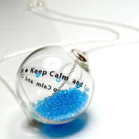 Message in round hand blown glass beads sterling silver pendant