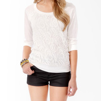 Lace Front Raglan Top