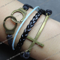 Handcuffs Bracelet-cross bracelet-vintage bracelet-black rope, blue rope, black braided bracelet