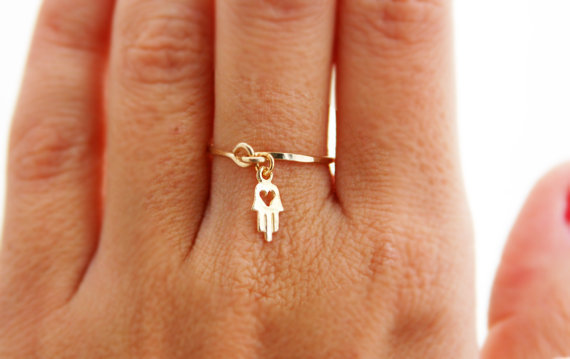 Gold ring, ANY SIZE, 14k gold filled, gold hamsa, wedding, engagement ring, thin ring, stacking ring, hammered gold ring