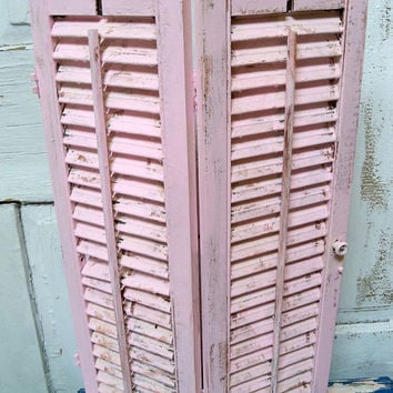 Vintage wooden hand painted shutter shabby chic pink distressed  wall decor Anita Spero