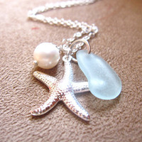 Sea Glass Starfish Necklace in Seafoam Blue with fresh water pearl - Perfect Necklace for Beach Outing in Summer - FREE SHIPPING