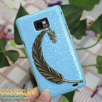 Hard Case Cover With Antique Brass Big Leaf, Small Cute Owl For Samsung Galaxy S2 S II I9100 MB585