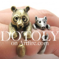 3D Panda Bear Animal Wrap Ring in Bronze - Sizes 5 to 9 Available
