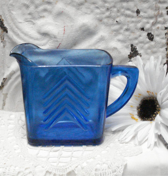 "4 1/4"" Hazel Atlas Blue Glass Creamer"