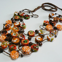 Bohemian Textile Necklace, orange and brown