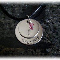 Breast Cancer Survivor Necklace with Pink Swarovski Crystal
