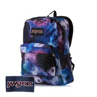 JanSport Black Label Superbreak Backpack - Swedish Blue/Pink Tulip Spray Can