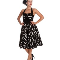 1950s Style Black & White Bats Halter Swing Dress