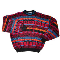 Vintage 80&#x27;s Multicolored Sweater with High Neck