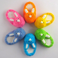 Bunny slipper - cute fridge magnet, pick your color, blue, purple, pink, orange, yellow, green, fuzzy, kitchen decor, refrigerator magnet