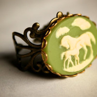 Green and Ivory Horse and Colt Ring