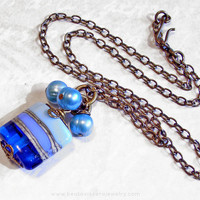 Blue Lampwork and Pearl Cluster Necklace - Small Pendant - Simple Necklace - Antique Brass Vintage Look Jewelry