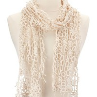 Antiqued Ivory Crochet Scarf