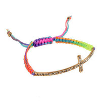 GYPSY WARRIOR - Neon Crystal Cross Cord Bracelet