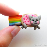 Nyan Cat Magnet - Hand-Made of Polymer Clay