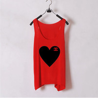 Heart Chanel - Women Tank Top - Red - Sides Straight