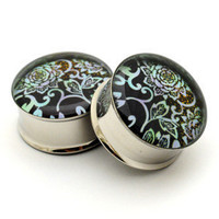 Japanese Flower Picture Plugs gauges - 00g, 1/2, 9/16, 5/8, 3/4, 7/8, 1 inch STYLE 10