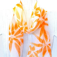 Hand Painted Silk Scarf, Mandarin Orange Hanabi Flowers Scarf. Summer Scarf. Silk Chiffon Scarf. Silk Scarves Takuyo. 7x50 in. Made in USA.