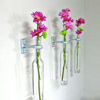 3 Wine Bottle Wall Flower Vases - Mother's Day Gift Idea - Wall Vase - Wall Decor  - Wine bottle Decor - Spring Decor