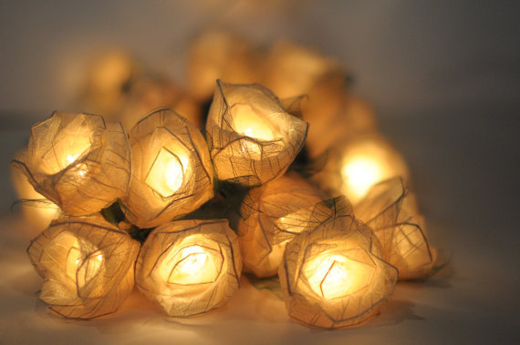 20 white  Romantic valentine Rose flower leaf string light patio decoration wedding bedroom decor