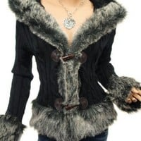 Patty Women Russian Faux Fur Trim Hooded Jumper Cardigan Jacket