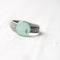 Mint bird ring - Summer jewelry - Pastel trend - christmas in july CIJ (R040)