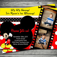 Mickey Mouse Birthday Invitation: Red & Yellow Polka Dots