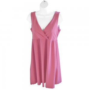 Garnet Hill Surplice Wrap Bust Comfy Soft Mauve Sun Dress Sundress XS (Fits Like Women's Small)