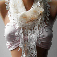 Elegance  Shawl ---- Scarf with Lacy Edge---
