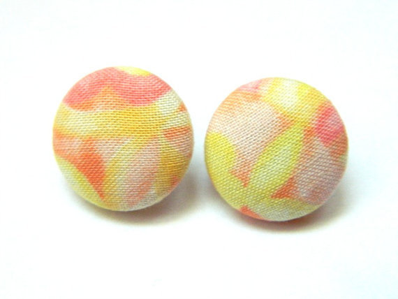 Button Earrings Yellow Summer Abstract Sorbet Colors