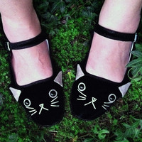 Cat Shoes - Embroidered Kitty Flats Mary Janes- Ladies Size 9