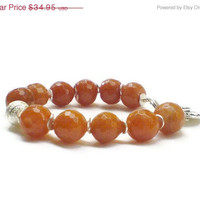 Christmas in July CIJ Peach jade Bracelet with faceted jade beads