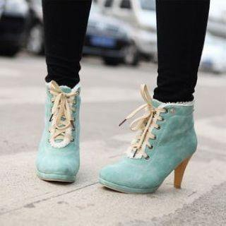 Fleece-Trim Lace-Up Ankle Boots