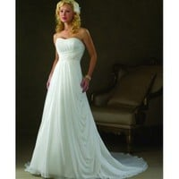 Chiffon Strapless Sweetheart  A-line Chapel Train Wedding Dress - Basadress.com