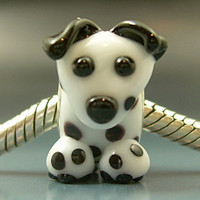 DALMATIAN Handmade Lampwork Glass BHB European Charm Big Hole Bead sra Gelly Puppy Dog