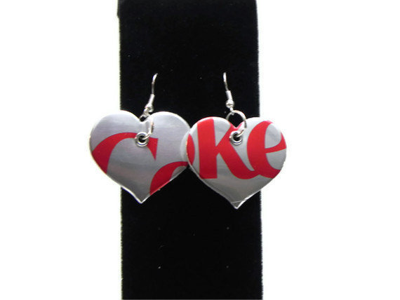 Recycled Diet Coke Soda Can Earrings Heart Earrings Soda Can Jewelry