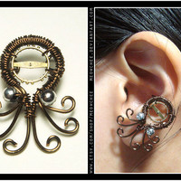 Steampunk Octopus ear cuff