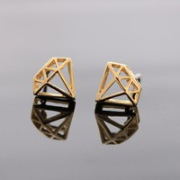 DIAMOND stud earrings in gold by bythecoco on Zibbet
