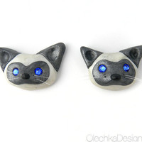 Cute Siamese Cat Magnets - Polymer Clay and Swarovski Sapphire rhinestones