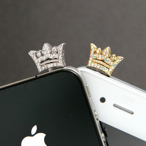 Crystal Tiara Dust Plug Cellphone Charm iPhone Accessories