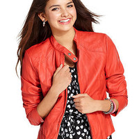 Ali & Kris Jacket, Three-Quarter Sleeve Faux-Leather - Juniors SALE & CLEARANCE - Macy's