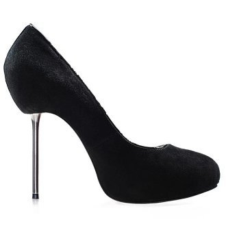 Black Suede Metal Root Iron Pumps