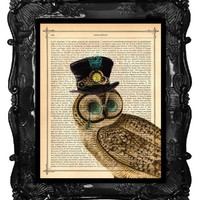 OUR ORIGINAL DESIGN Vintage Steampunk Owl with His by BlackBaroque