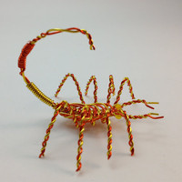 "Miniature Decorative Scorpion Wire Sculpture - Yellow & Orange - Approx 1.75"" x 1.75"" x 1.5"""
